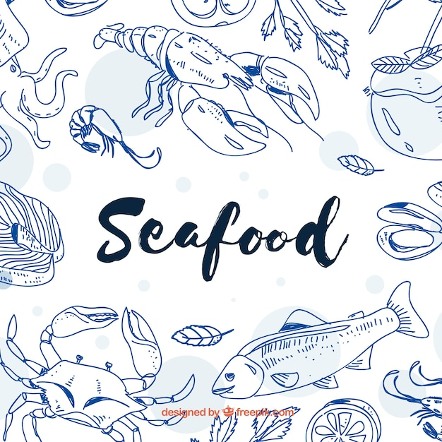 Рисованные морепродукты фон Бесплатные векторы