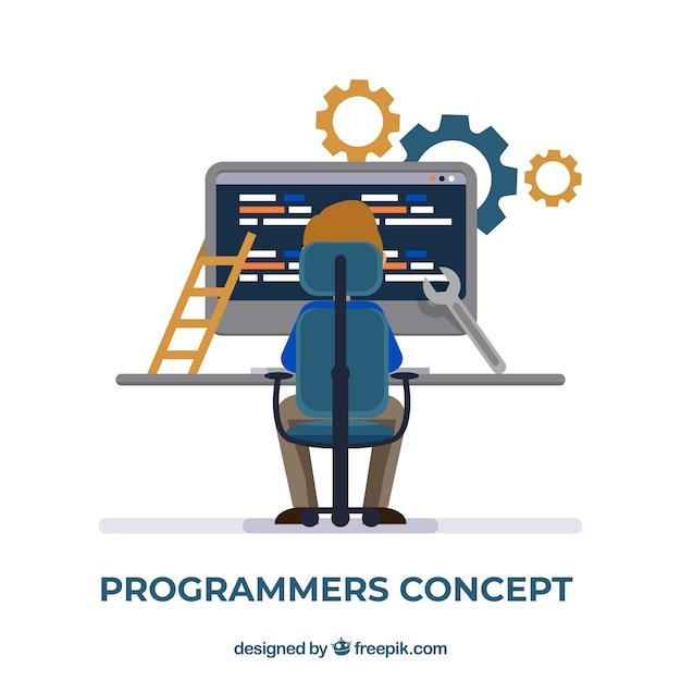 平面設計によるプログラマのコンセプト 無料ベクター
