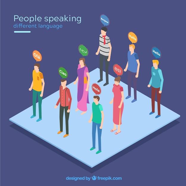 フラットなデザインでさまざまな言語を話す人々 無料ベクター