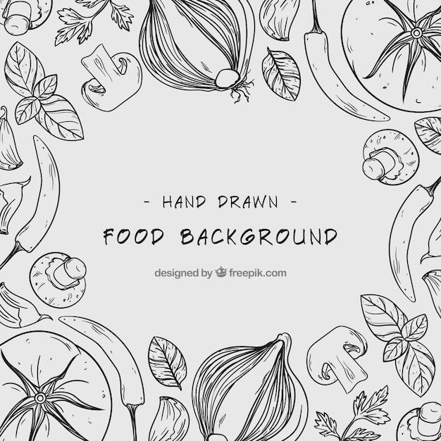 手描きの健康的な食べ物の背景 無料ベクター