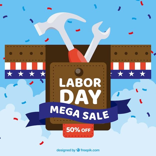 フラットデザインのアメリカの労働者の日の販売 無料ベクター