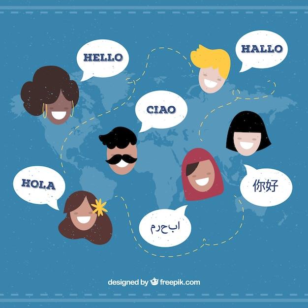 異なる言語を使用するフラット文字 無料ベクター