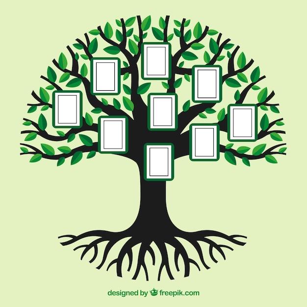 平らな木の写真コラージュテンプレート 無料ベクター