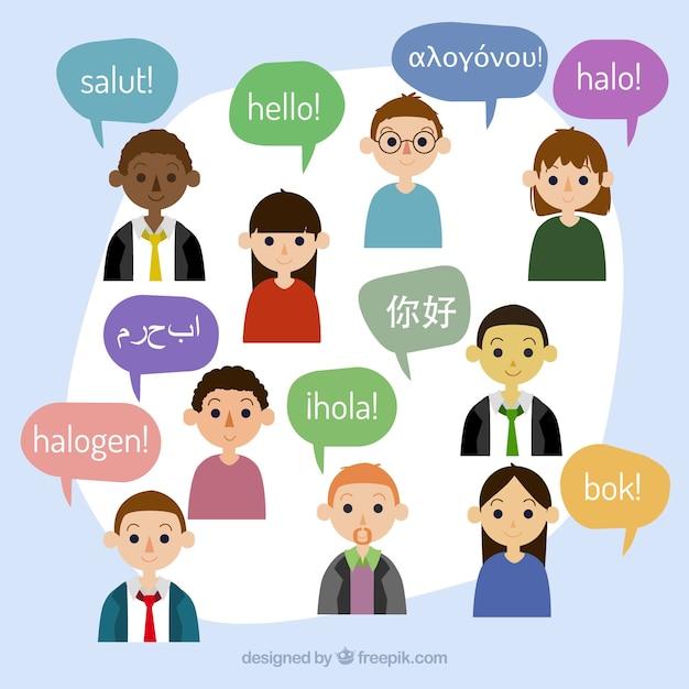 さまざまな言語のスピーチバブルを持つフラットな人々 無料ベクター