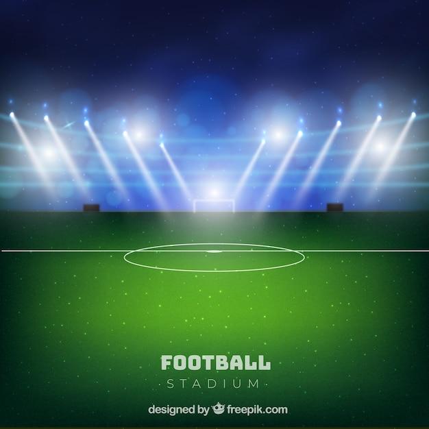 現実的なスタイルのサッカースタジアム 無料ベクター