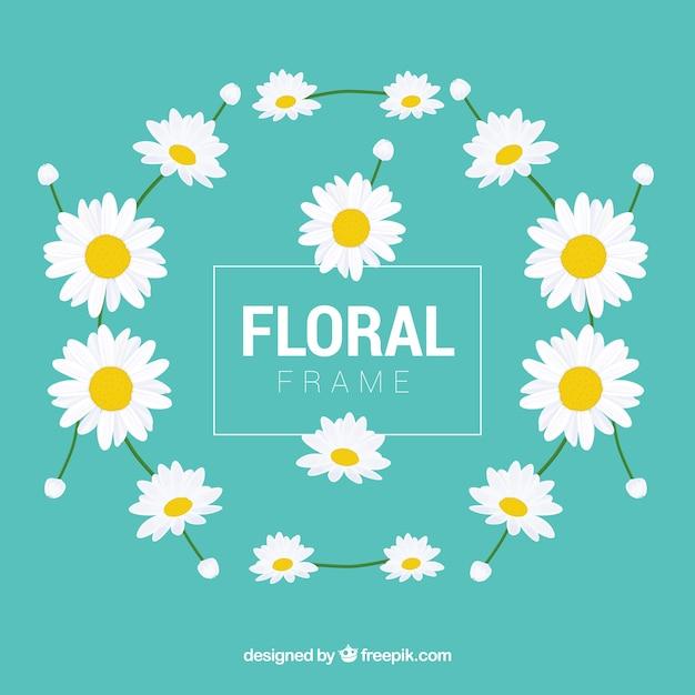 フラットデザインのカラフルな花のフレーム 無料ベクター