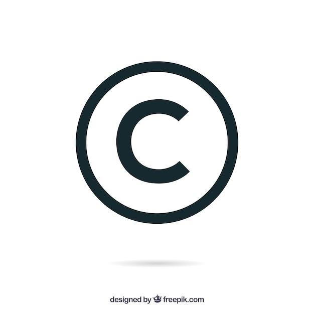 フラットスタイルの著作権シンボル 無料ベクター