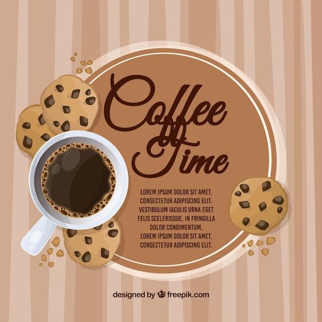 コーヒーフレームの背景 無料ベクター