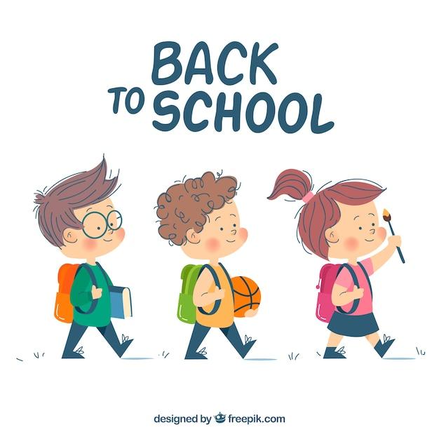 学生と一緒に学校のバックグラウンドに戻る 無料ベクター