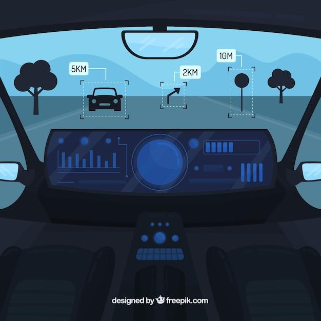 自律車のインテリアデザイン 無料ベクター