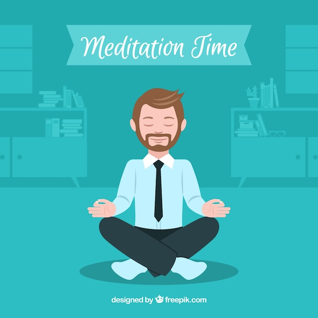 ビジネスマンと瞑想の概念 無料ベクター