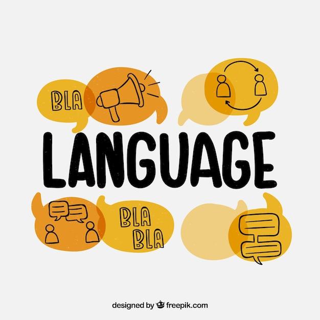 異なる言語を話す手描きの人 無料ベクター