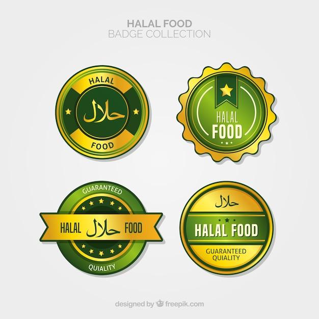 ゴールデンスタイルのハラール食品ラベルコレクション 無料ベクター
