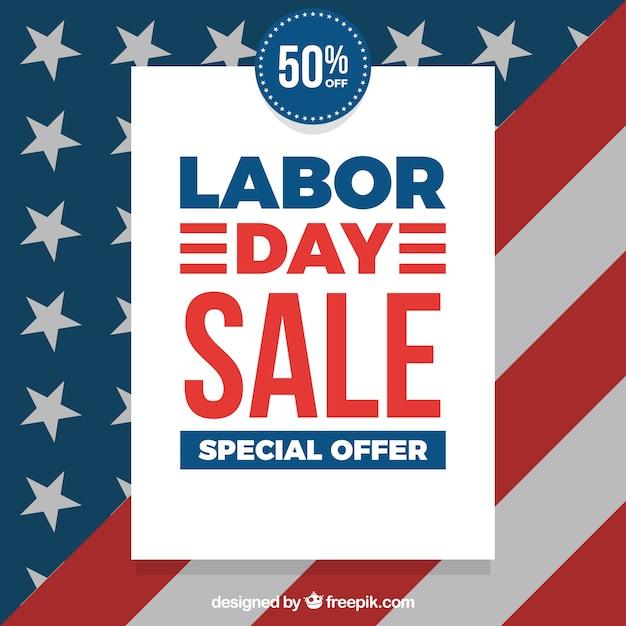 アメリカの旗を使った労働日の販売 無料ベクター