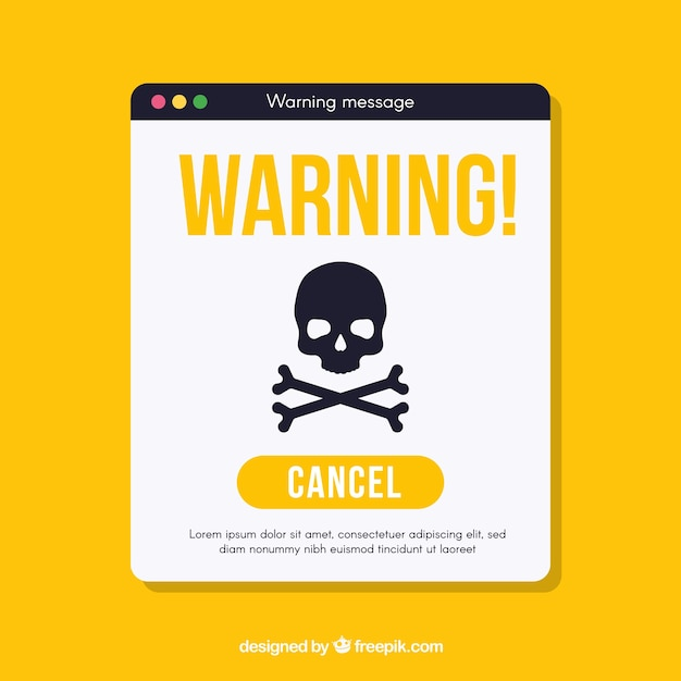 フラットデザインの警告ポップアップ 無料ベクター