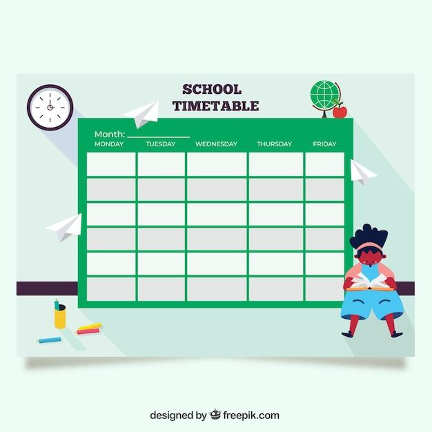 緑の学校のタイムテーブルテンプレート 無料ベクター
