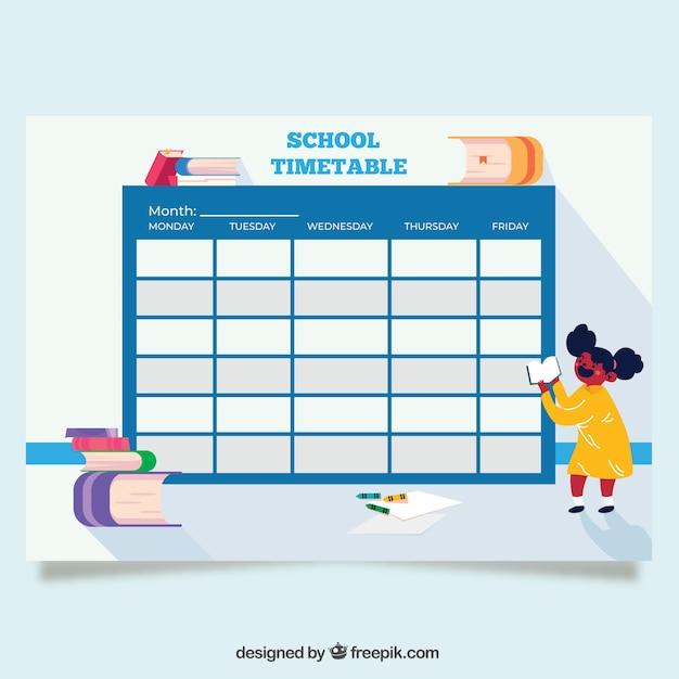 青の学校のタイムテーブルテンプレート 無料ベクター
