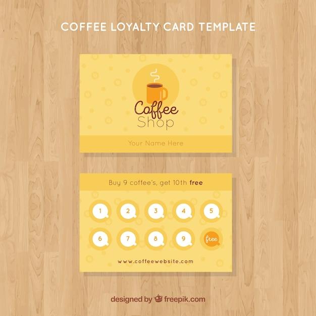 Шаблон карточки лояльности к кофе Бесплатные векторы