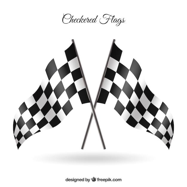 Клетчатые флаги с реалистичным стилем Бесплатные векторы