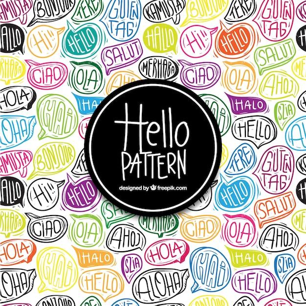 こんにちは言葉を使った手描きのパターン 無料ベクター