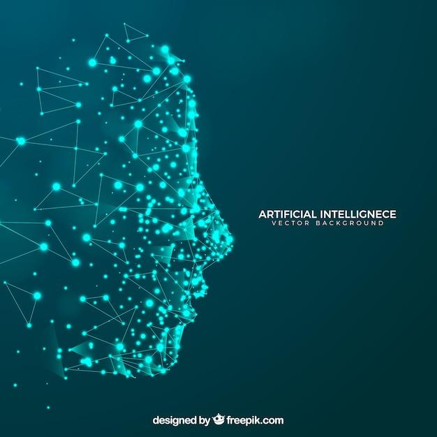 頭部を備えた人工知能の背景 無料ベクター