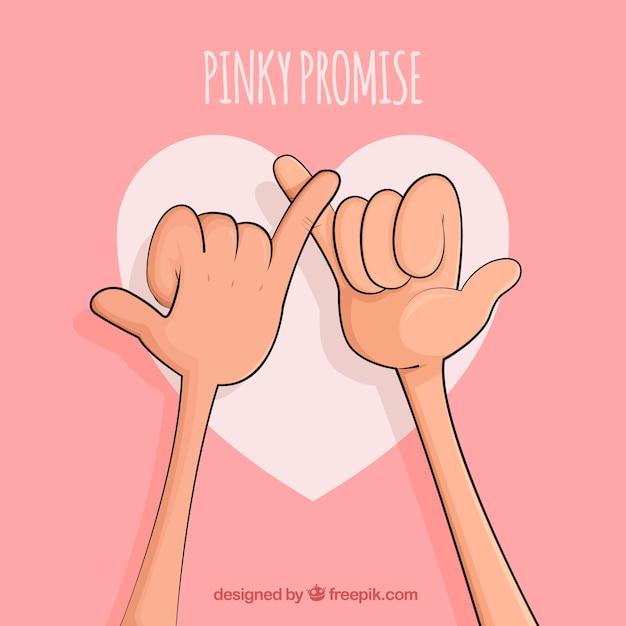 手描きのピンクの約束のコンセプト 無料ベクター