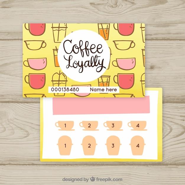 コーヒークーポン付きのロイヤリティカードテンプレート 無料ベクター
