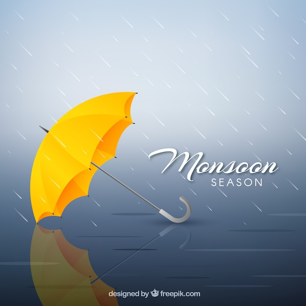 Композиция сезона муссонов с реалистичным дизайном Бесплатные векторы