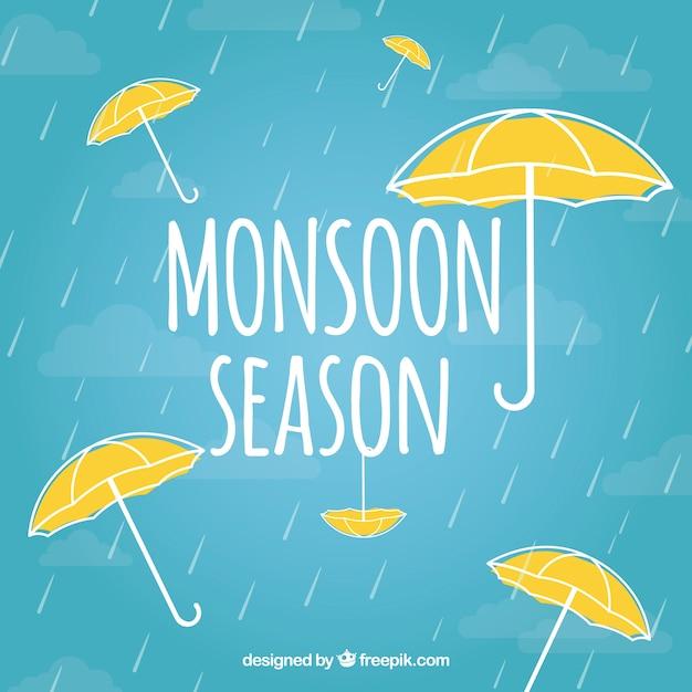 Композиция муссонного сезона с ручным рисунком Бесплатные векторы