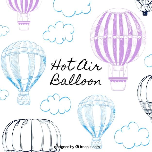 Фон с воздушными шарами в ручном стиле Бесплатные векторы