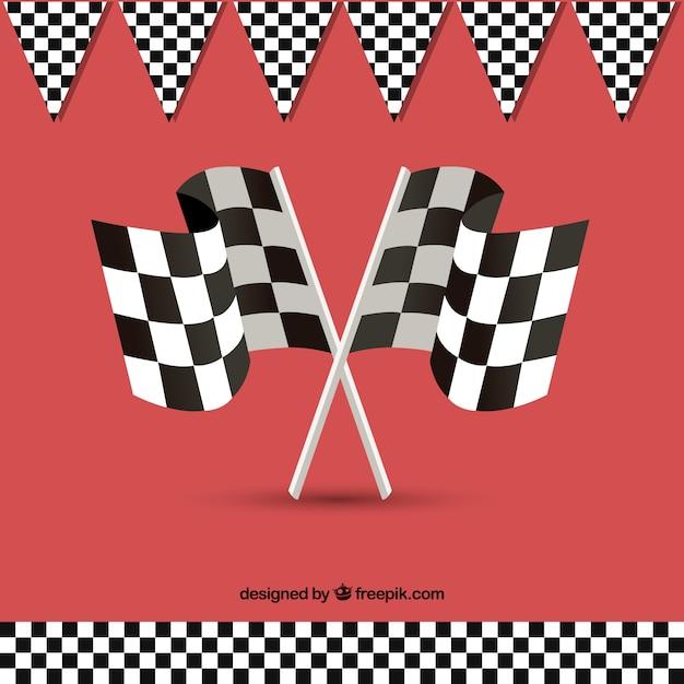 Фон с клетчатым флагом Бесплатные векторы
