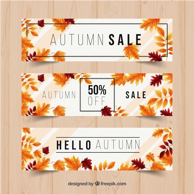 現実的なデザインの秋のバナー 無料ベクター