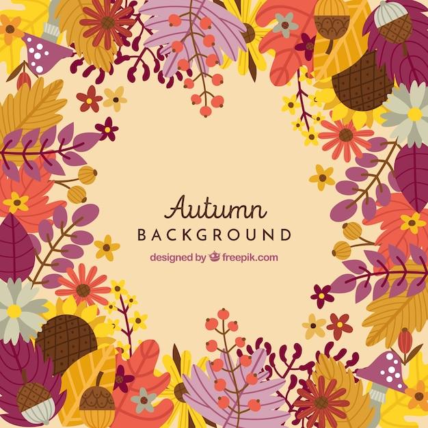 カラフルな葉の秋の背景 無料ベクター