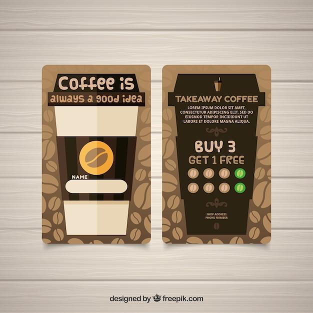 Современный шаблон карты лояльности кофейни Бесплатные векторы