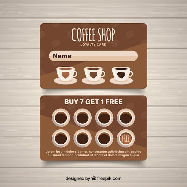 現代のコーヒーショップのロイヤルティカードテンプレート 無料ベクター