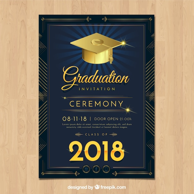 現実的なデザインのエレガントな卒業招待状 無料ベクター