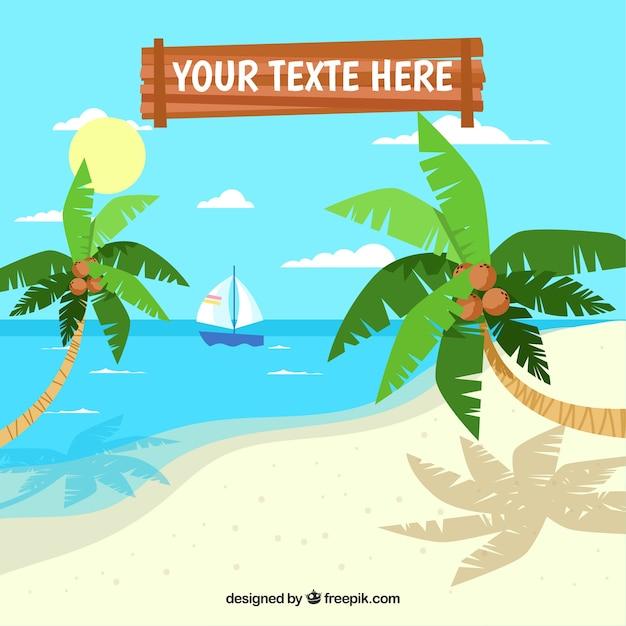 Красивый фон тропического пляжа Бесплатные векторы