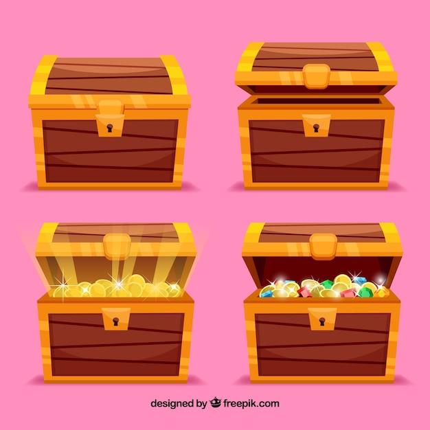 オープンエンドと閉じた宝箱コレクション 無料ベクター