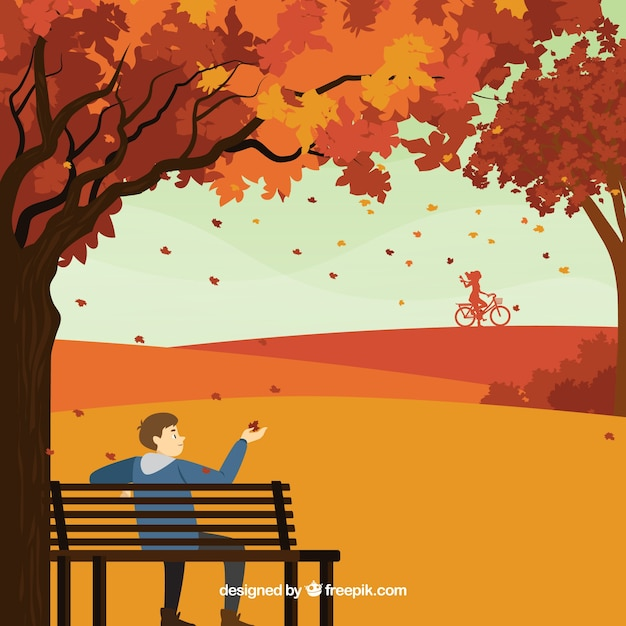 公園にいる人と秋の背景 無料ベクター