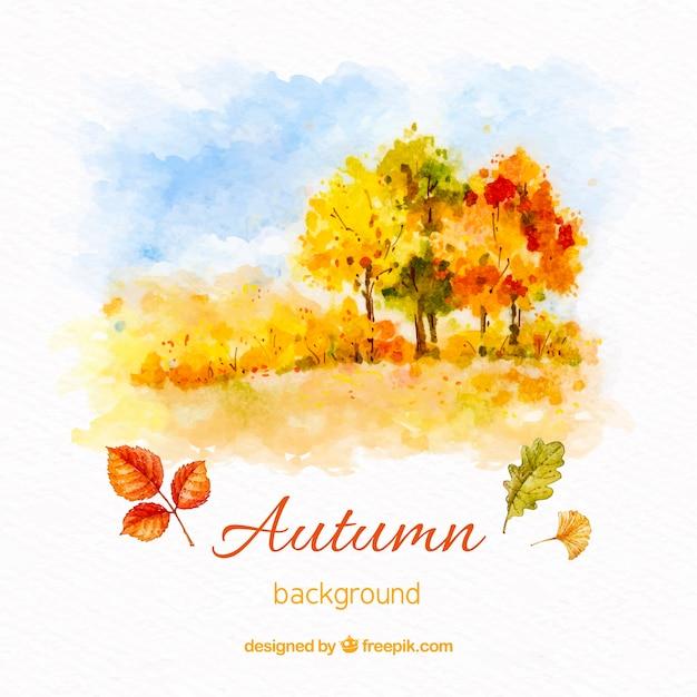 秋の水彩の背景 無料ベクター