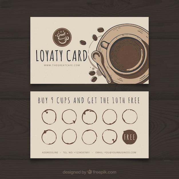 エレガントなスティを持つコーヒーショップのロイヤリティカードテンプレート 無料ベクター