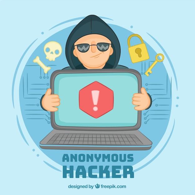 手描きの匿名ハッカー概念 無料ベクター