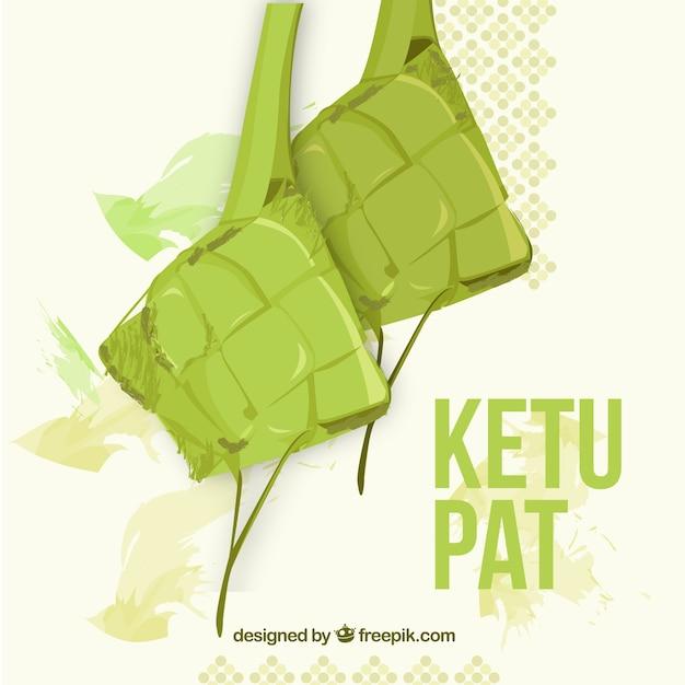 手描きの伝統的なケトパット組成 無料ベクター