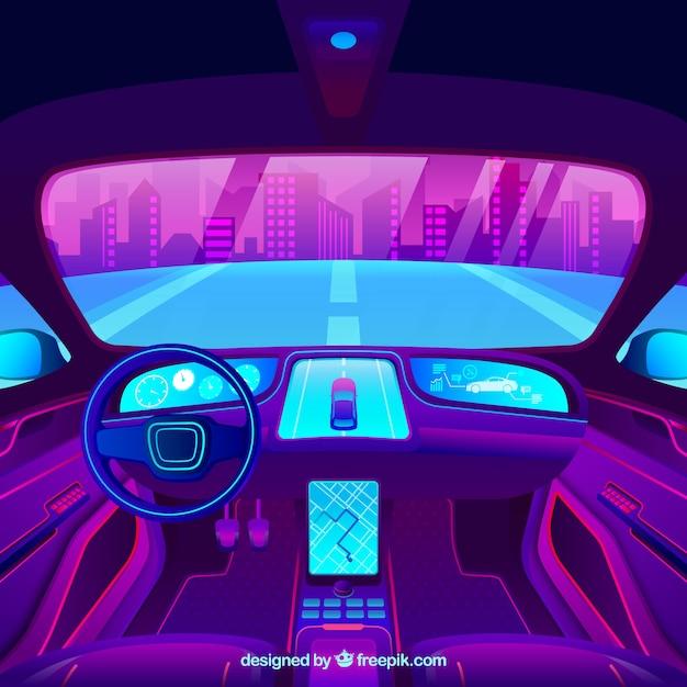 自律車の未来的なインテリアデザイン 無料ベクター