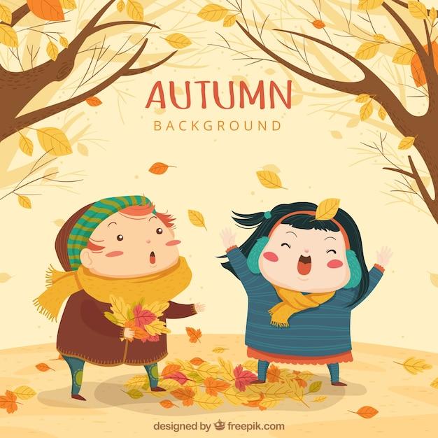 かわいい子供たちと秋の背景 無料ベクター
