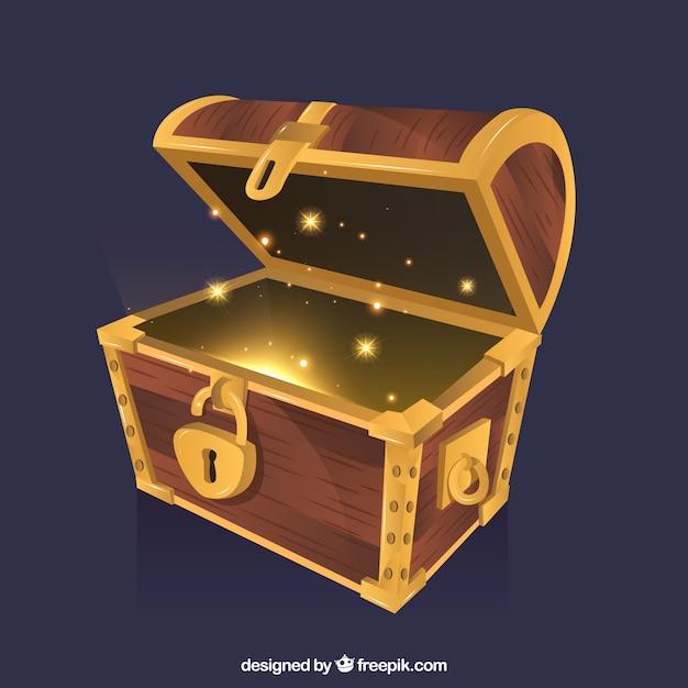 ゴールデンとダイヤモンドの宝箱の背景 無料ベクター
