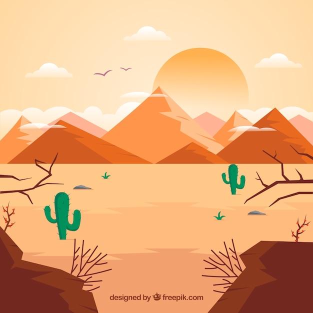 フラットデザインの砂漠の生態系構成 無料ベクター