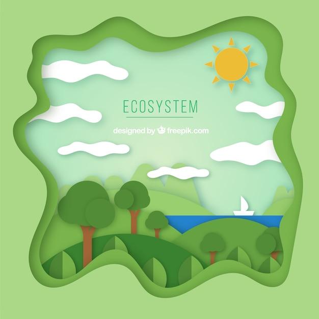 折り紙スタイルの生態系保全コンポジション 無料ベクター