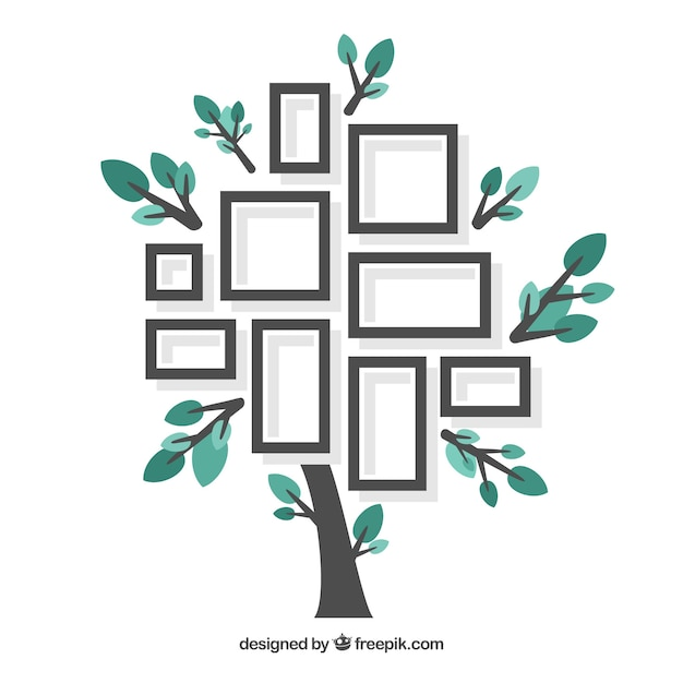 Прекрасное плоское дерево с фоторамками Бесплатные векторы