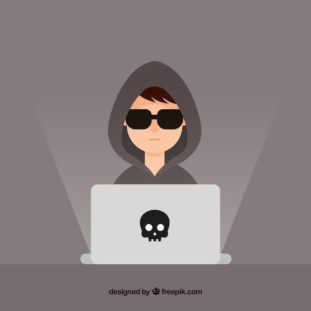 Молодой анонимный хакер с плоским дизайном Бесплатные векторы